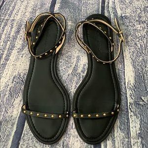 Banana Republic Arlene Black/Gold Strappy Sandal